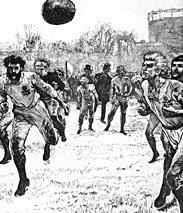 Pressezeichnung zum ersten Fußballländerspiel zwischen England und Schottland (1872)